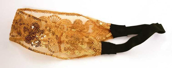 Golden Lace with Sequins Elastic Headband #4 - MiddleEasternMall - 3