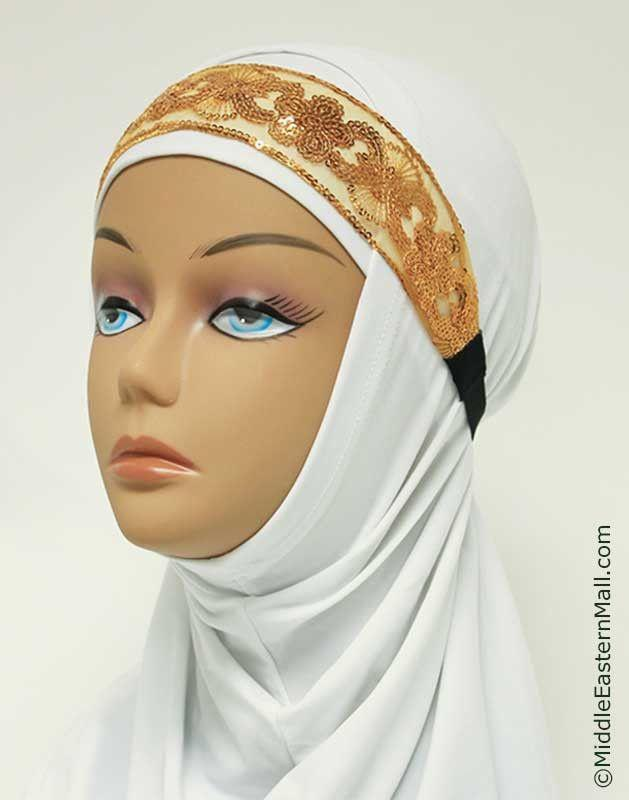 Golden Lace with Sequins Elastic Headband #4 - MiddleEasternMall - 1