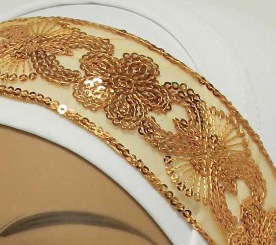 Golden Lace with Sequins Elastic Headband #4 - MiddleEasternMall - 2