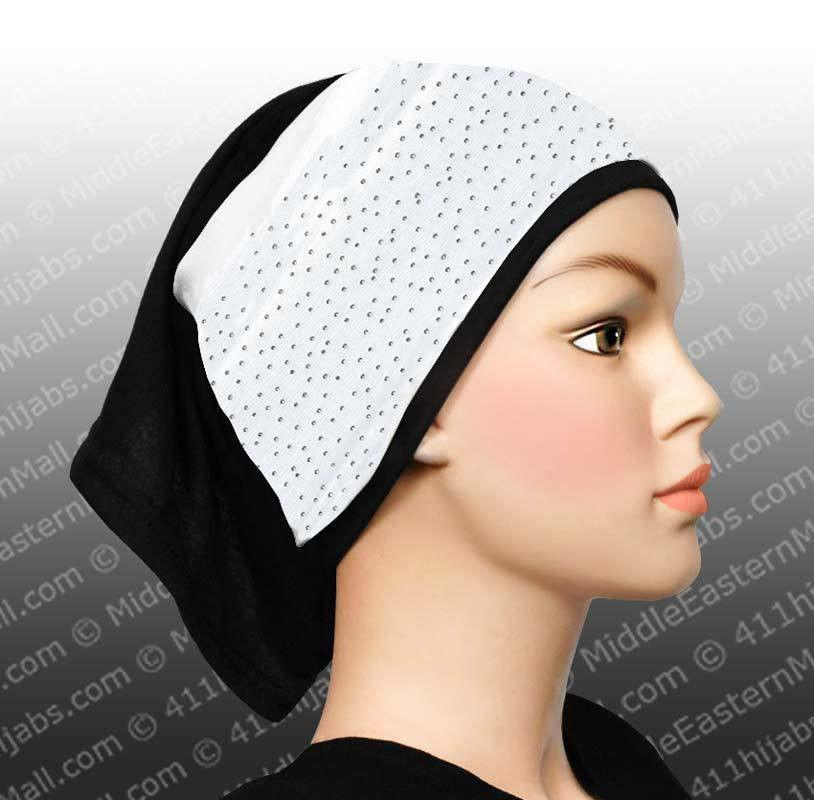 Hijab Headband with Mini-Studs #10 White - MiddleEasternMall