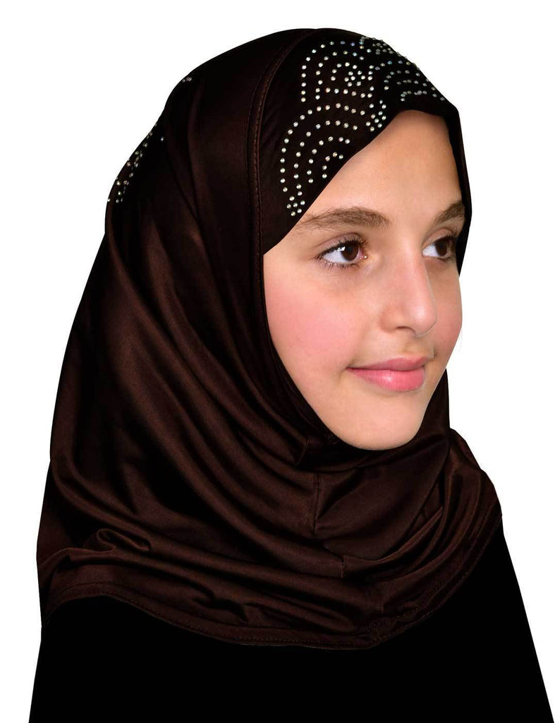 Heba Girl's BROWN Hijab with Rhinestones Lycra 1 piece Amira