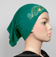 jade green Hijab Cap Cotton with Embroidery