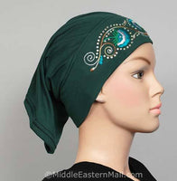 forest green Hijab Cap Cotton with Embroidery