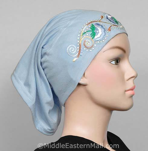baby blue Hijab Cap Cotton with Embroidery