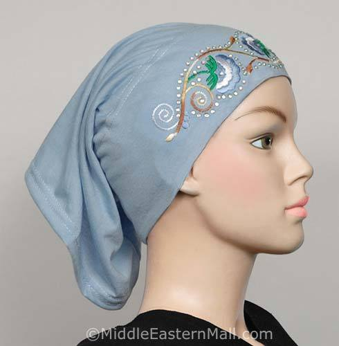 blue Hijab Cap Cotton with Embroidery