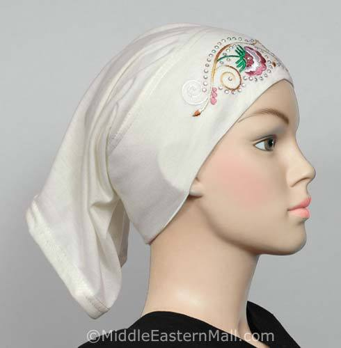 ivory Hijab Cap Cotton with Embroidery