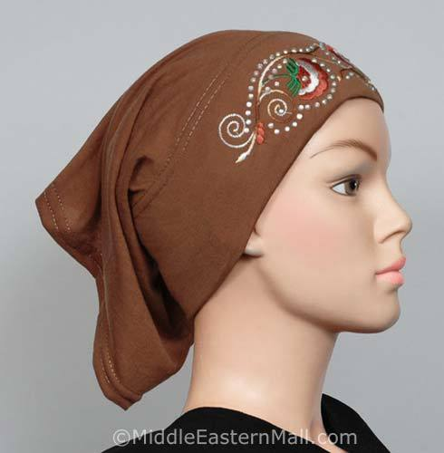 pottery brown Hijab Cap Cotton with Embroidery