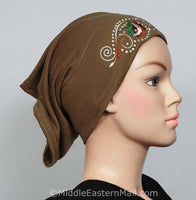 tan Hijab Cap Cotton with Embroidery