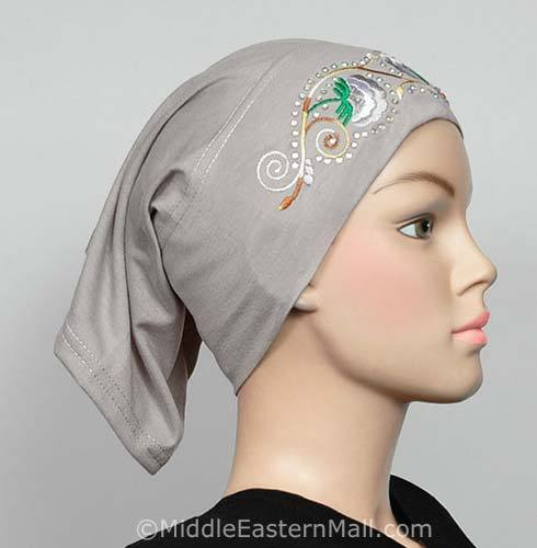 lite gray Hijab Cap Cotton with Embroidery