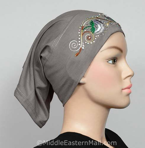 gray Hijab Cap Cotton with Embroidery