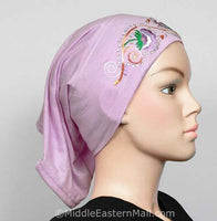 lilac Hijab Cap Cotton with Embroidery