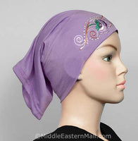 lite purple Hijab Cap Cotton with Embroidery