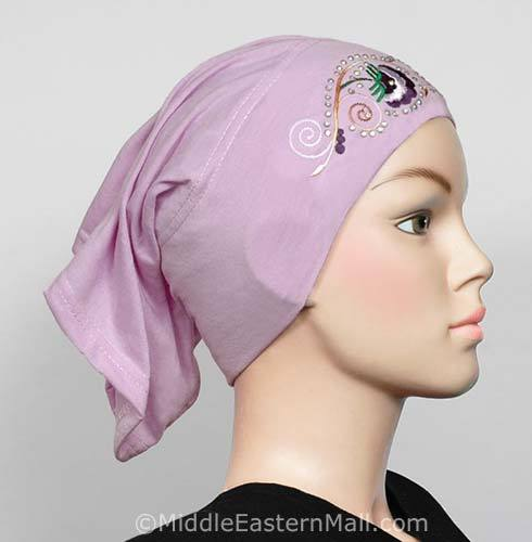 orchid Hijab Cap Cotton with Embroidery