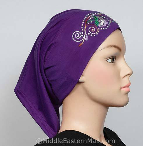 purple Hijab Cap Cotton with Embroidery