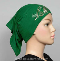 green Hijab Cap Cotton with Embroidery
