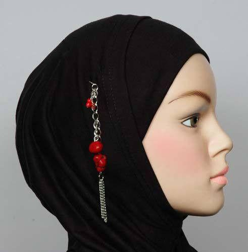 Hijab Pin Turquoise Stone # 7 in Red - MiddleEasternMall