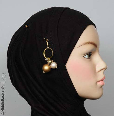 Orb Design Hijab Pin # 3 in Gold Tone - MiddleEasternMall