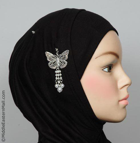 Butterfly Hijab Pin # 10 in Silver Tone - MiddleEasternMall