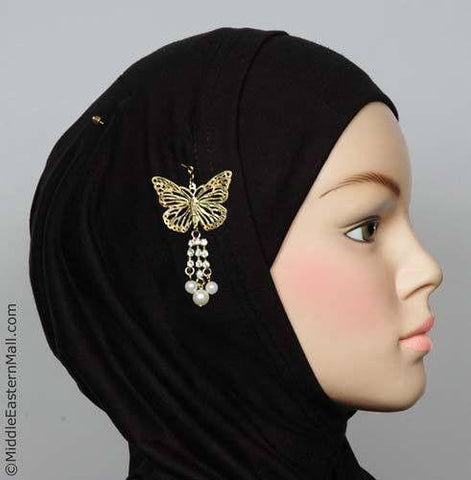 Butterfly Hijab Pin # 14  In Gold Tone - MiddleEasternMall