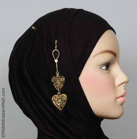 Ajoure Heart Hijab Pin # 15 in Gold Tone - MiddleEasternMall