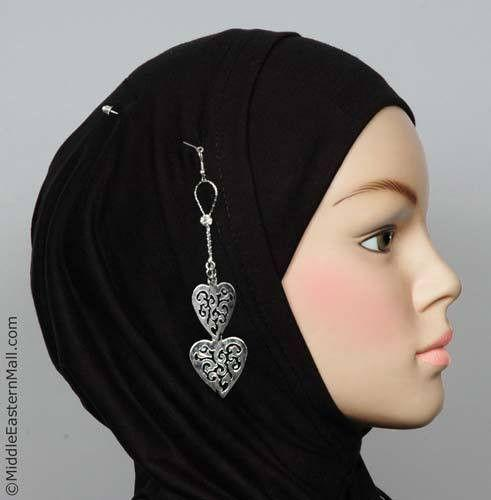 Ajoure Heart Hijab Pin # 17 in  Silver Tone - MiddleEasternMall