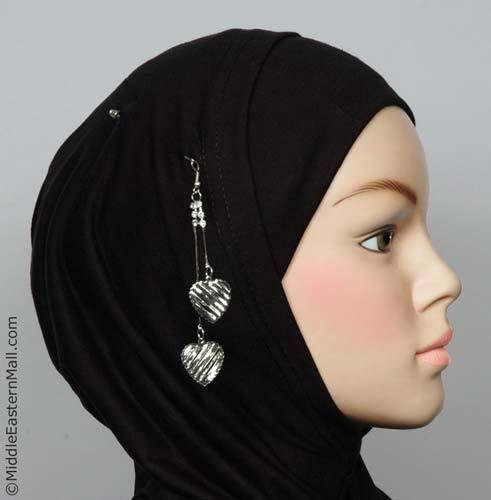 Striped Heart Hijab Pin # 3 in Silver Tone - MiddleEasternMall