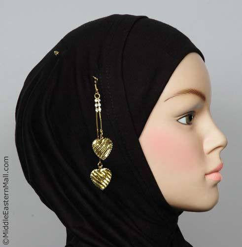 Striped Heart Hijab Pin # 8 in Gold Tone - MiddleEasternMall