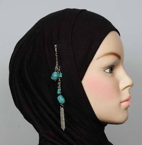 Hijab Pin Turquoise Stone # 11 in Blue - MiddleEasternMall