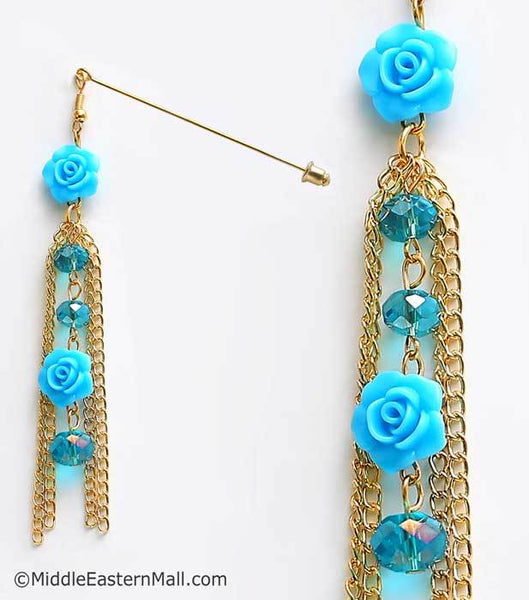 Double Rose Hijab Pin in #21 Blue