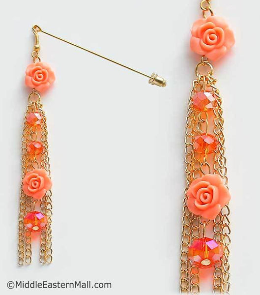Double Rose Hijab Pin in #22 Coral