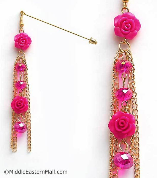 Double Rose Hijab Pin in #24 Fuchsia Pink