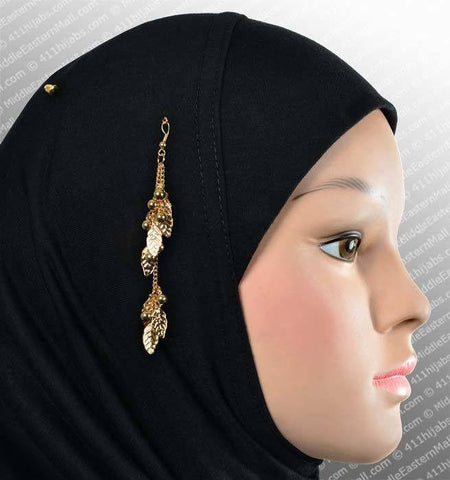 Leaves Design Hijab Pin # 6 in Gold Tone - MiddleEasternMall