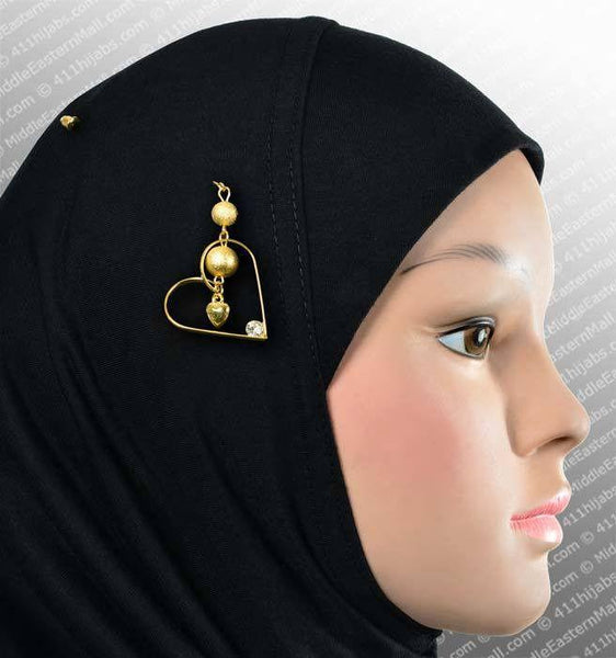 Three D Heart Hijab Pin # 12 in Gold Tone - MiddleEasternMall