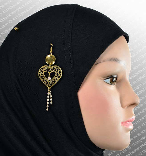 Lacey Heart Hijab Pin # 9 in Gold Tone - MiddleEasternMall