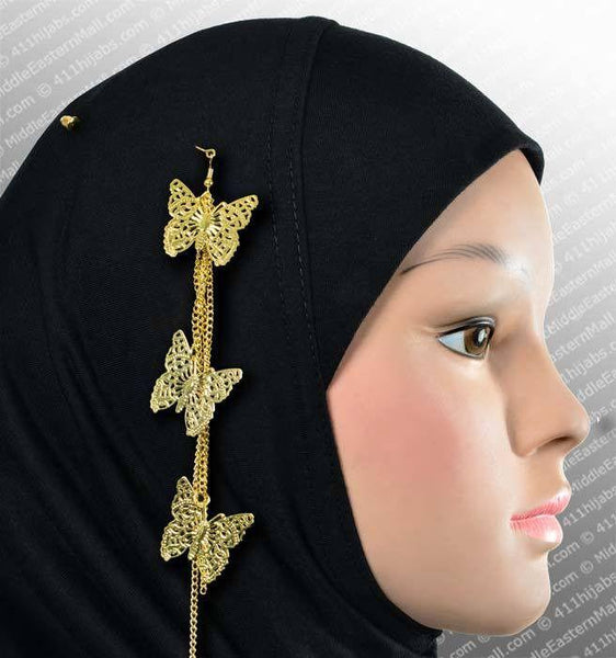 Three Butterfly Hijab Pin # 11 in Gold - MiddleEasternMall