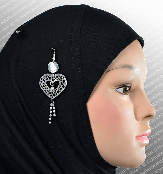 Lacey Heart Hijab Pin # 7 in Silver - MiddleEasternMall