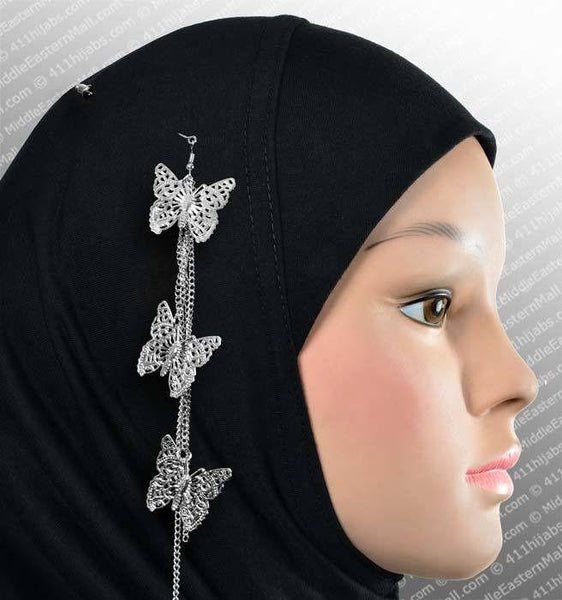 Three Butterfly Hijab Pin # 9 in Silver - MiddleEasternMall