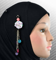 Rose Hijab Pin in #1 Confetti Colors on White