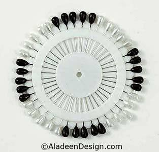 Large Straight Hijab Pins Black & White - MiddleEasternMall