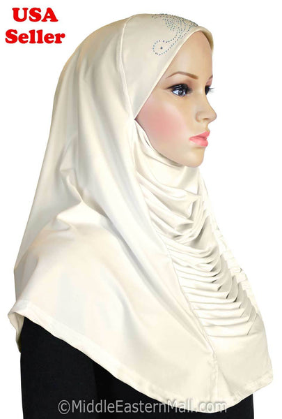 Wholesale Set of 10 Ruched Cascade Hijabs 1 piece Lycra Amira with RHINESTONES