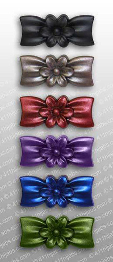 Flower Bow Hijab Pin Set of 6 - Assorted Frosted Colors - MiddleEasternMall
