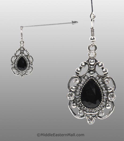 Rococo Hijab Pin with Black Stone in Silver Tone - MiddleEasternMall