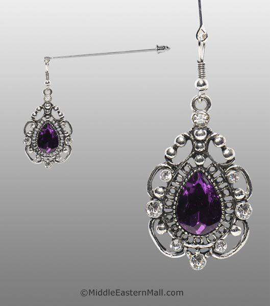Rococo Hijab Pin with Purple Stone in Silver Tone - MiddleEasternMall