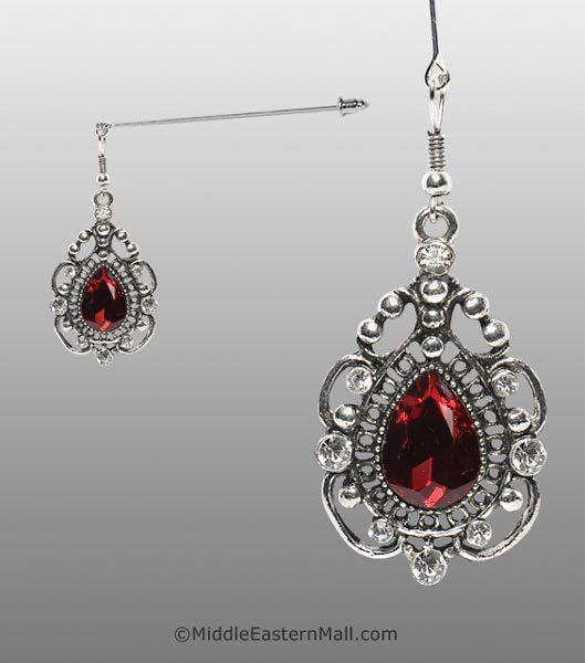 Rococo Hijab Pin with Ruby Red Stone in Silver Tone - MiddleEasternMall