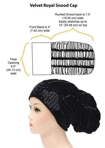 Velvet Royal Snood Ruched Hijab Cap measurements
