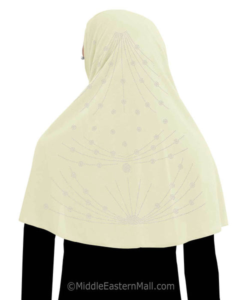 Khimar Hijab 1 piece Poly Amira with Stones Chain Design
