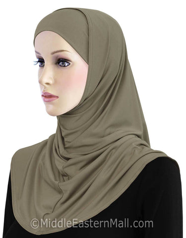 Khatib Lycra 2 piece Hijab STANDARD LENGTH in #5 Tan