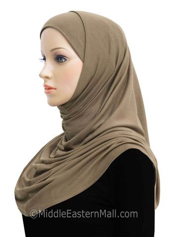 Khatib Long Cotton Amira Hijab 2 piece set #5 Tan
