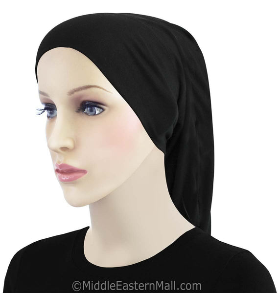 Extra Long Khatib Cotton Black Hijab Tube Cap