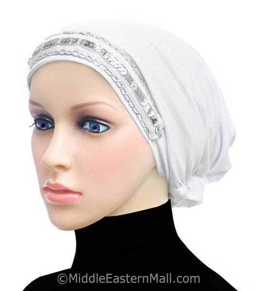 White Women's Large Luxor Khatib Lycra Snood Hijab Cap